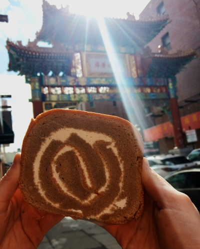 Philadelphia Chinatown gate + swiss roll