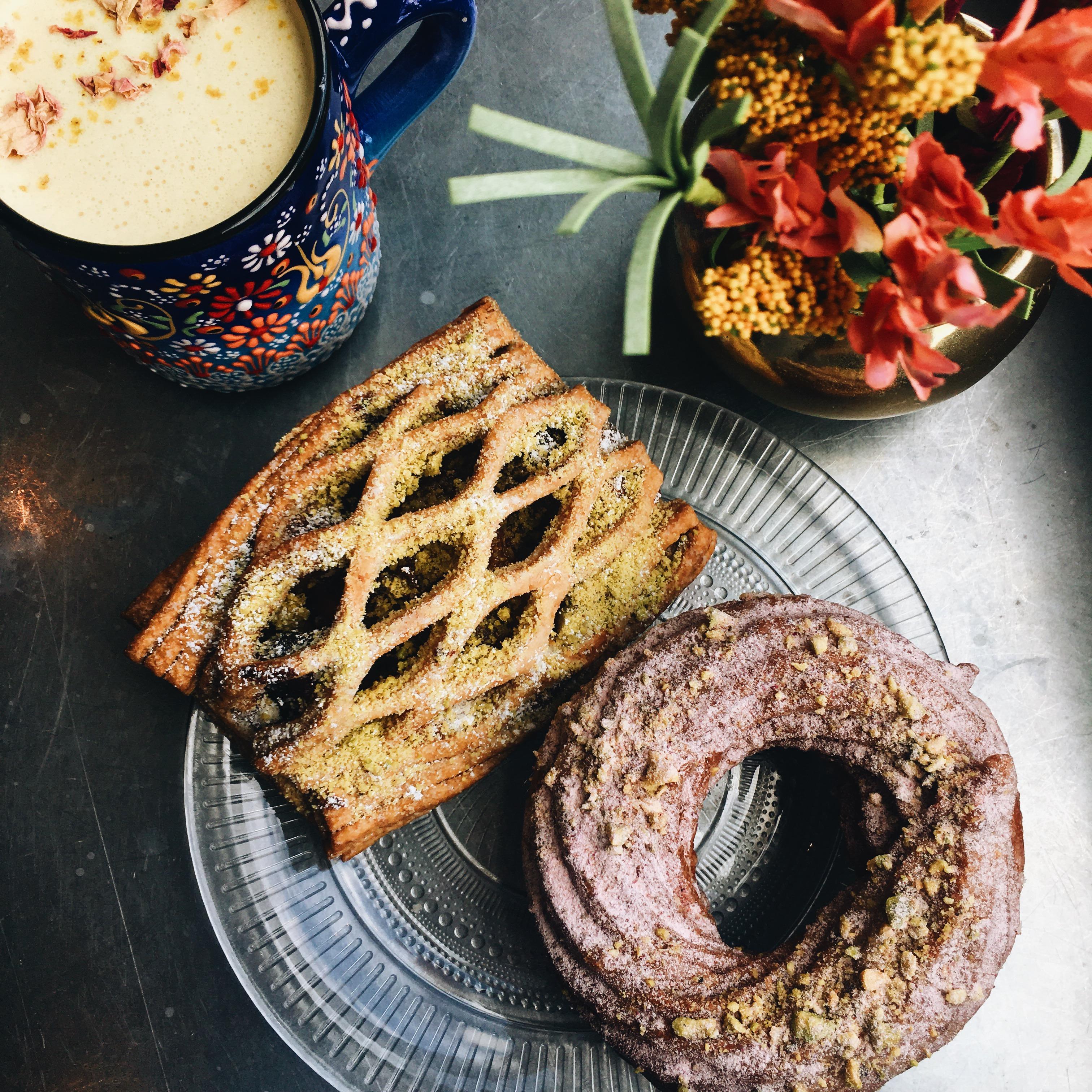 Latte and pastries at Suraya Philadelphia