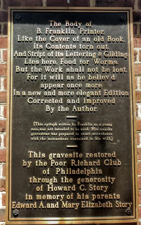 Ben Franklin's grave Philadelphia